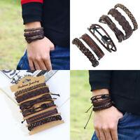 Retro Men Multi-layer Braided Leather Bracelet Set Braided Punk Bangle Wristband