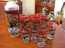 VINTAGE BARWARE LG SCENIC COCKTAIL MIXER SHAKER W/ 6 HIGHBALL & 5 SHOT GLASSES