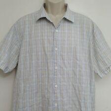 Cubavera Mens Shirt XXL Blue White Plaid Button Front 100% Cotton Short Sleeve