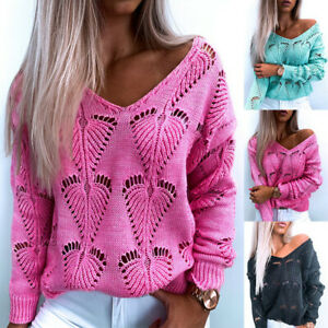 Women Hollow Out Knitted Sweater Pullover Ladies V Neck Loose Casual Jumper Tops