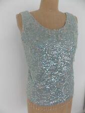 Beautiful Vintage Sequin Shell Top - Powder Blue - Made in Hong Kong
