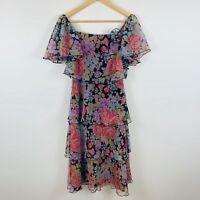 MR K Sydney Womens Dress Size 10 Slim Vintage 1980 Floral Multicoloured Gorgeous