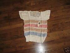 crochet top,hand knit,60's,pastel,stripe rayon,deadstk ,S