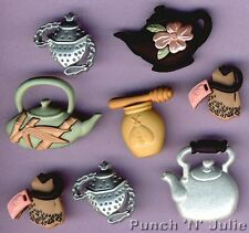 TIME FOR TEA Chinese Green Honey Teapot Kettle Teabag Novelty Dress It Up Button