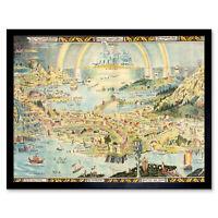 Map Sleigh 1918 Ancient Fairyland Fantasy Chart Wall Art Print Framed 12x16