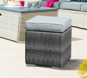 2-Piece Assembled Outdoor Patio Ottoman Outdoor All-Weather (Gray)