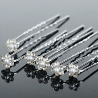 20PCS Wedding Bridal Rhinestone Pearl Flower Hair Pins Clips Bridesmaid Jewelry