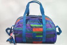 New with Tag KIPLING NEW YUZU Medium Print Duffel Gym Bag SL4757- SUMMER STRIPE