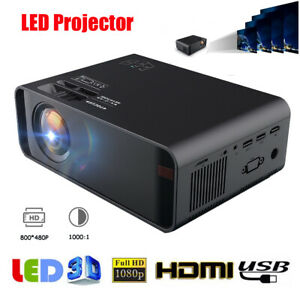 10000 Lumens 1080P HD LED LCD Mini Projector Video Home Theater Cinema HDMI USB