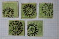Germany Bavaria sc#6 9kr used color & numeral pinwheel cancel variety cv$95.00
