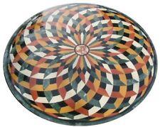"42"" round green Marble sofa center Table Top Inlay semi precious stones decor"