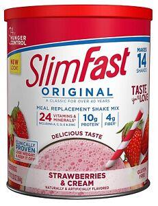 SlimFast Original Strawberry Cream Meal Replacement Shake Mix Weight Loss Powder