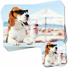 Cool Beagle Having A Cocktail Set of 4 Placemats and Coasters