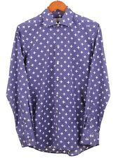 Eton Contemporary Fit Blue Fluer de lis White Floral Print Dress Shirt 15.75 40