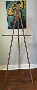 """Vintage Anco Bilt Adjustable Wood Easel 48"""" - 64"""" Wood Artist Painters Tripod"""