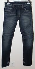 Balmain Side Distressed Moto Biker Jeans Size 28 BNWT Blue Denim