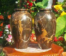 2 ART DECO brown marble mantle vase vtg antique table sculpture clock lamp stone