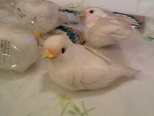 LOT OF 4! ARTIFICIAL BIRDS WHITE! 3 INCHES LONG FOR CRAFTS! SO CUTE!