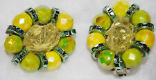 LARGE vintage HOBE Citron YELLOW Lime GREEN DIAMANTE BEADED clip EARRINGS signed