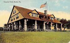 Butler Pennsylvania~Country Club on Hilltop~Stone Pillars~Flag~1912 Postcard