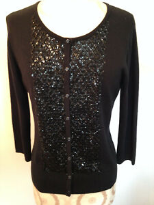 Black Sequin TALBOTS Cotton Silk Cashmere 3/4 Sleeve Button Cardigan Sweater S