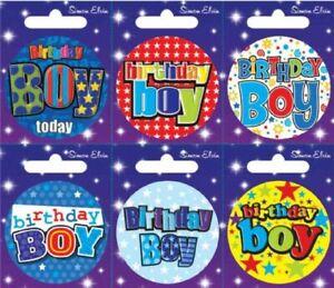 Simon Elvin badges Birthday Boy