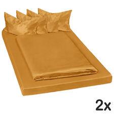 2x Parure lit 100% satin polyester housse de couette 200x150 taie oreiller brun