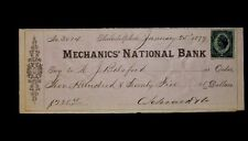 1877 MECHANIC'S NATIONAL BANK CANCELLED CHECK WITH $0.02 IRS LIBERTY REVENUE STA