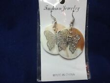 Earrings With Silver Butterfly Accents New Set Fashion Hook Style Shell