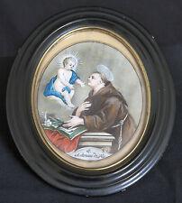 santino MINIATURA PERGAMENA 1700 S.ANTONIO DA PADOVA cornice Napoleone III