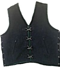 Motorcycle Suede Vest Leather Buckle Biker Style Waistcoat Green Hand Braided