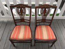 Pair of American Hepplewhite Inlaid Marquetry Mahogany Vanity/Child's Chairs 🪑