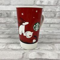 Starbucks 2011 Christmas Holiday Red Mug 16oz. Boy With Dog On A Sled