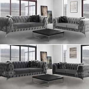 Rocky Sandringham Soft Velvet Sofa Set 3 Seater & 2 Seater- Silver Or Dark Grey