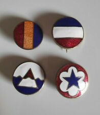 Lot de 4 crest de calot US service forces, Army ground force WWII 100 % ORIGINAL
