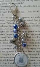 HANDCRAFTED BLUE/GREY BEADED TATTY TEDDY BAGCHARM KEYRING BAG CHARM