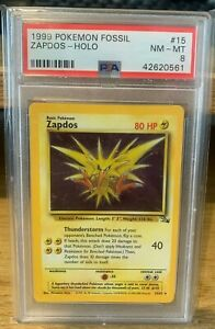 Zapos Fossil PSA 8 15/62 Rare Holo POP 177 Pokemon 1999