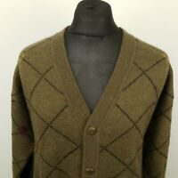 Malagrida Mens Vintage Cardigan LARGE Green Wool Jumper Sweater Knit Diamond