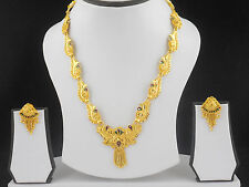 UK Indian Bollywood Jewelry Fashion Gold Plated Wedding Necklace Earring Set