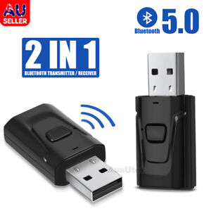 USB Bluetooth 5.0 Transmitter Receiver Audio Adapter AUX 3.5mm TV CAR PC Speaker