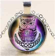 Celtic Rainbow Owl Cabochon Glass Tibet Silver Chain Pendant Necklace