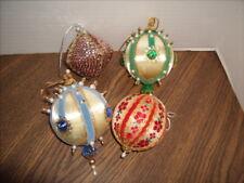 4 Vintage Hand Made Christmas ORNAMENTS Satin Ball Sequin Beaded