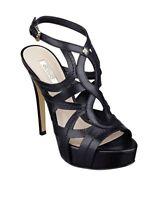 GUESS Kaesy Platform Stiletto Open Toe Buckle Sandal Black Leather New w Box USA