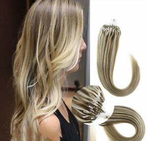 18'' #M12/613 Mix Blonde Double Drawn Micro Bead Loop Human Remy Hair Extensions