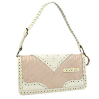 Christian Dior Trotter Hand Bag 05-MA-0024 Pink White Canvas Leather AK45650