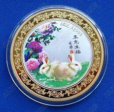 Lovely 2011 Year of the Rabbit Lunar Zodiac Colored Bi-Metallic Coin Token 60mm