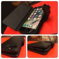 Apple iPhone 8 Genuine Saffiano Real Leather Wallet Executive Book Case Black