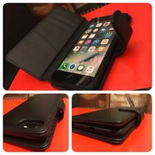 iPhone 8 Plus.  Real Italian Leather Wallet  Book Case Card Holder Black