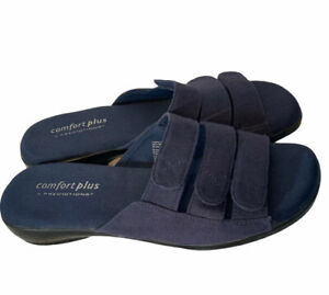 Comfort Plus By Predictions Women's Size 6.5 Blue Fabric Sandals Slip-On
