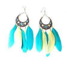 Turquoise Yellow Silver Feather Earrings Chandelier Drop Boho Festival Hook 2521